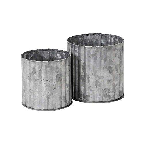 2tlg Zinktopf EMILY grau shabby chic Pflanztopf aus Zink Blumentopf großklein