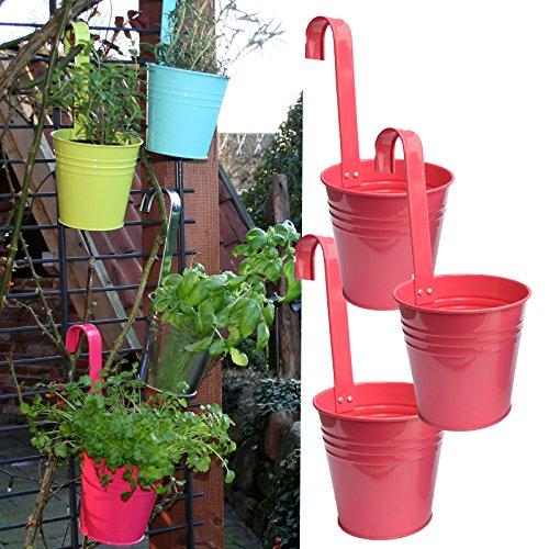 3er Set Hängetöpfe Zink Balkon Blumentopf hängend Balkontopf Pflanztopf zum hängen aus Metall in verschiedenen Sommerfarben 3 x pinkrose