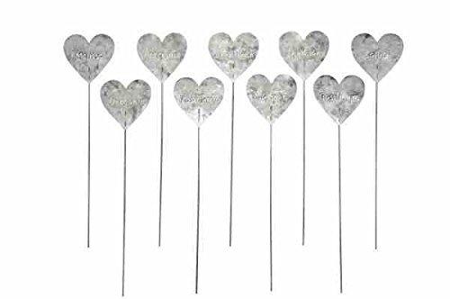 Kräuterstecker Herz aus Metall Pflanzschilder Pflanzenstecker 9 Modelle Zink für Pflanztopf oder Beet H je 29cm