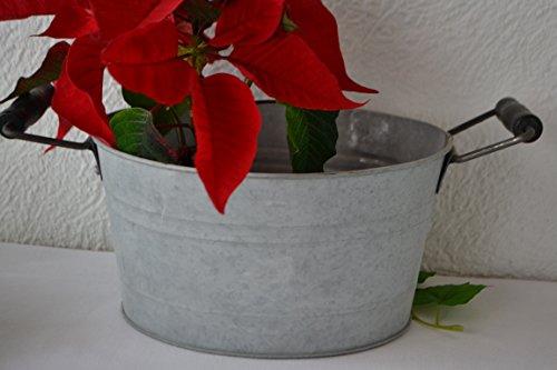 Maison en France Pflanztopf Zink Stabil Übertopf Länge mit Griff 34 cm Hübscher Zinktopf Antik - praktisch und Wasserdicht