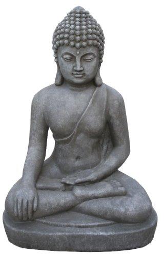 Figur Buddha sitzend Bhumisparsha-mudra - für Haus und Garten - Höhe 80 cm - grau
