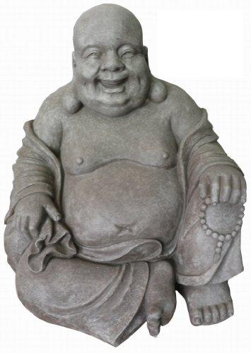 Figur Lachender Buddha sitzend - für Haus und Garten - Höhe 40 cm - grau