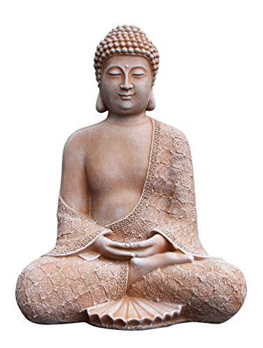 Tiefes Kunsthandwerk Stein-Figur Buddha sitzend in Terrakotta Statue als Deko für Wohnung Haus und Garten Skulptur als Wohnaccessoire oder Geschenk frostsichere japanische Garten-Figur Feng Shui