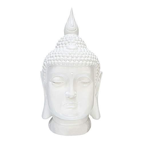 dasmöbelwerk Großer Buddha Kopf Figur Feng Shui Deko Lotus Asia Skulptur FROSTSICHER Garten 6 Farben 60 cm MZ Weiß