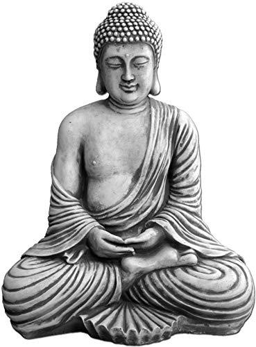 gartendekoparadiesde Großer masssiver Stein - Buddha Tempelwächter aus Steinguss frostfest Grau