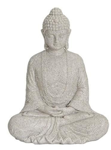Buddha Figur meditierend 25cm in ALTWEISS Deko Artikel für Garten Haus Buddha-Skulptur Wohnaccessoire ideal als Geschenk schöne Thai Statue
