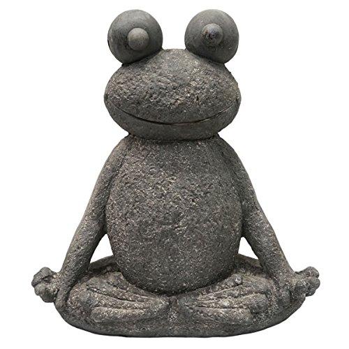 SVITA Yoga Frosch Garten-Figur Feng Shui Statue Meditation Reiki Outdoor Skulptur 51 cm Lotus 2