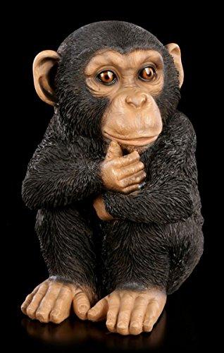 Schimpanse als Gartenfigur - Junges nachdenkend  Affe Garten Figur Statue Deko