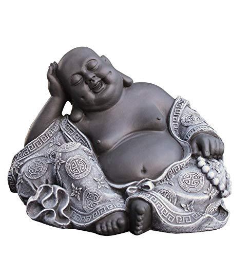 Steinfigur Buddha in Schiefergrau Figur Deko Statue Garten frostsicher