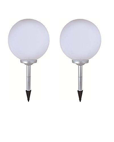 2 x LED Solar-Kugelleuchte Marla Solar-Kugellampe Solarleuchte Gartenleuchte mit Erdspieß Durchmesser 20cm Kugelleuchte Gartenkugel