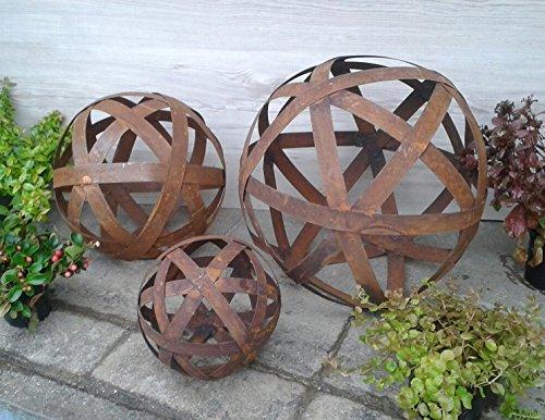 Kugel 40 cm aus Metall Edelrost Rost Streifenbandkugel Eisen Deko Garten