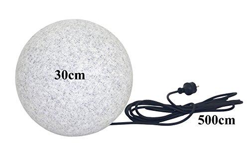 Trango IP65 Gartenkugel in Granit-Optik 30cm Ø inkl 5m Outdoorkabel TG300G