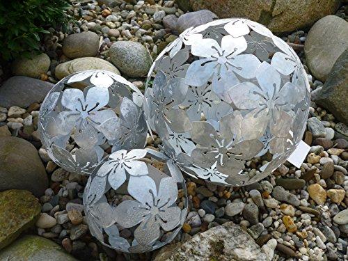 3er Set Dekokugeln Gartenkugeln Blume Metall 101520cm Silber patiniert Kugel
