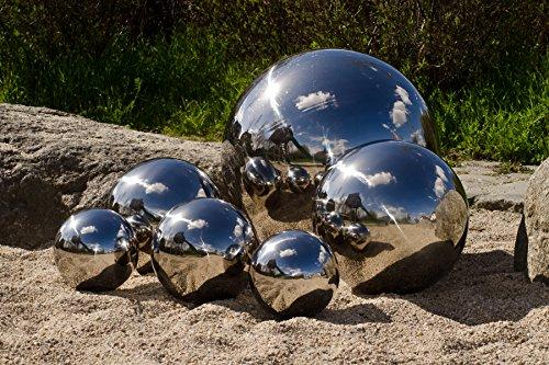 8er Set Köhko Dekokugeln in 4 unterschiedlichen Größen Glänzend polierte Edelstahlkugel Gartenkugeln Teichkugeln