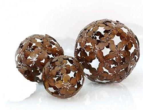 Blumen-Kugel 3er-Set Dekokugeln Gartenkugel Blume Metall braun - D101520cm
