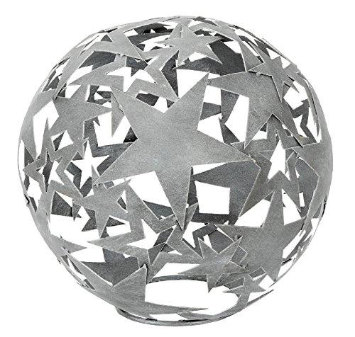 HSM Dekorative Stern-Kugel Deko-Kugel Garten-Kugel Metall Hellgrau DM 25 cm