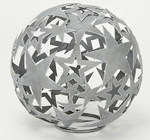 HSM Dekorative Stern-Kugel Deko-Kugel Garten-Kugel Metall Hellgrau DM 35 cm